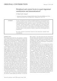 Peripheral and central levels in nasal trigeminal sensitization and ...