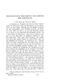Beiträge zur Erklärung und Kritik des Aischylos