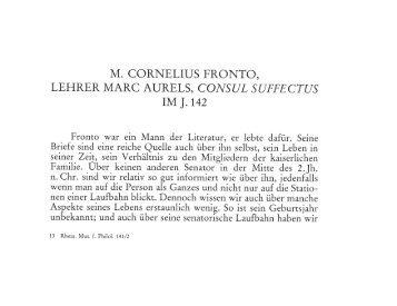 m. cornelius fronto, lehrer marc aurels, consul suffectus im j. 142