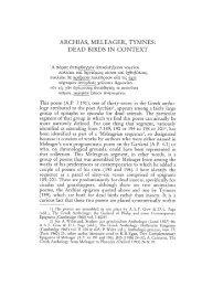 ARCHIAS, MELEAGER, TYMNES: DEAD BIRDS IN CONTEXT