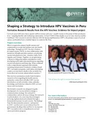 Shaping a Strategy to Introduce HPV Vaccines in Peru - RHO