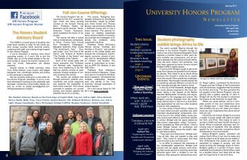 Honors Program newsletter (Spring 2011) - University of Rhode Island