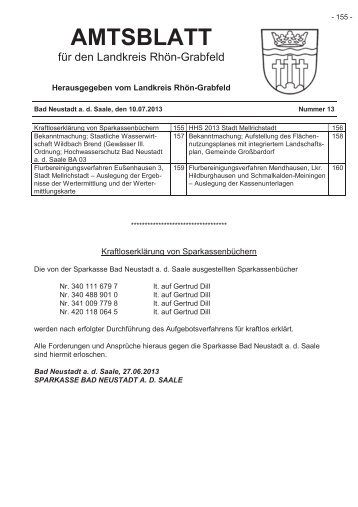 Amtsblatt im pdf-Format zum download - Landkreis Rhön-Grabfeld