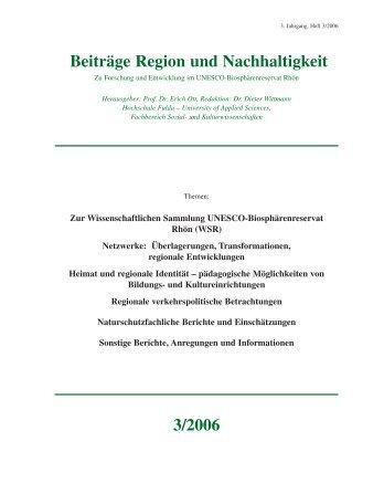 Beiträge Region und Nachhaltigkeit 3/2006 - Wissenschaftliche ...
