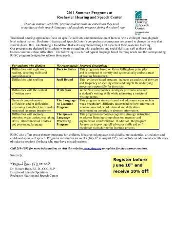 2011 Summer Programs at - Rochester Hearing & Speech Center