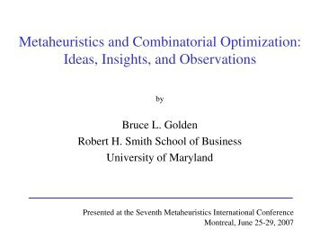 Metaheuristics and Combinatorial Optimization - Robert H. Smith ...