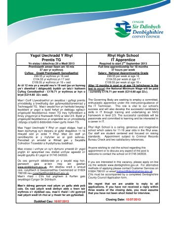 Ysgol Uwchradd Y Rhyl Prentis TG Rhyl High School IT Apprentice