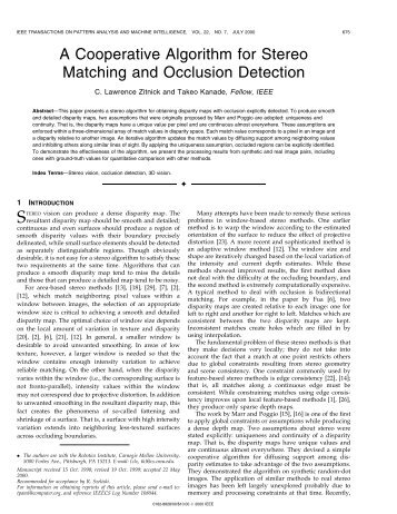A cooperative algorithm for stereo matching and occlusion detection ...