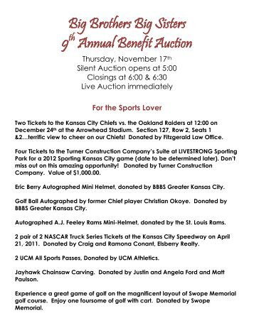 Big Brothers Big Sisters 9 Annual Benefit Auction
