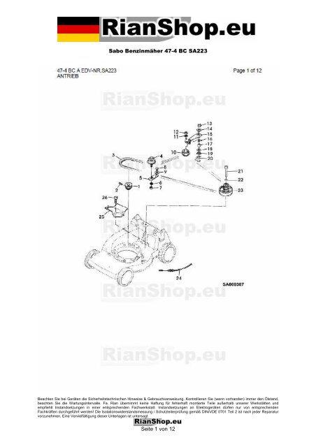 Sabo Benzinmäher 47-4 BC SA223 Seite 1 von 12