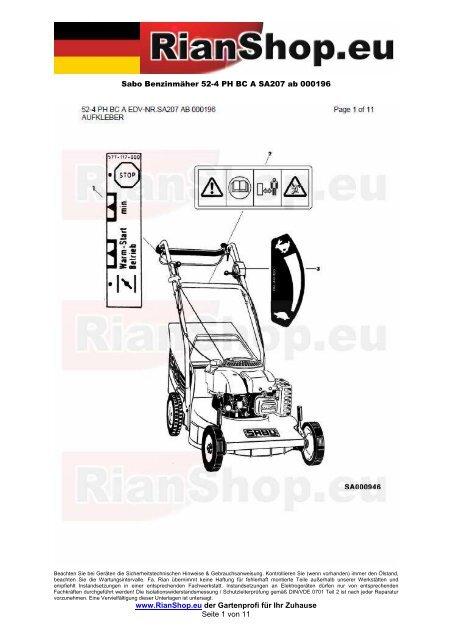 Sabo Benzinmäher 52-4 PH BC A SA207 ab 000196 www ...