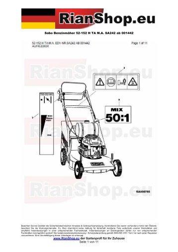 Sabo Benzinmäher 52-152 H TA M.A. SA242 ab 001442 www ...