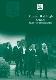 Sixth Form Information - Ribston Hall High School