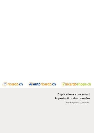 Explications concernant la protection des données sur ricardo.ch