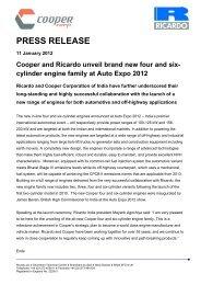 Cooper and Ricardo launch new engine lines at Delhi's Auto Expo.pdf