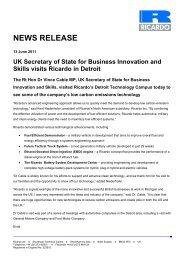 UK Secretary of State for Business Innovation and Skills ... - Ricardo