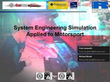 System Engineering Simulation Applied to Motorsport - Ricardo