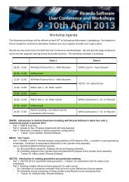 Ricardo Software European User Conference 2013 Workshop Agenda
