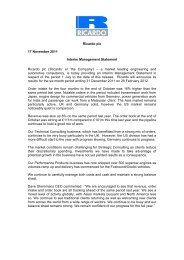 Ricardo plc 17 November 2011 Interim Management Statement ...
