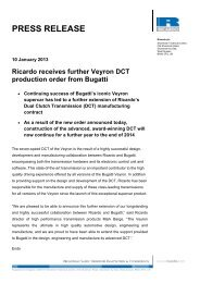 Ricardo Receives Further Veyron Dct Production Order From Bugatti