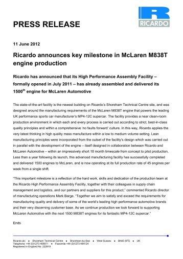 Ricardo announces key milestone in McLaren M838T engine ...
