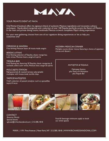 Private Events at Maya New York - Richard Sandoval Restaurants