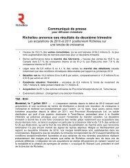 Communiqué de presse Richelieu annonce ses résultats du ...