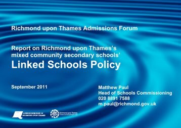 Linked Schools Policy - London Borough of Richmond upon Thames