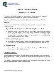 London Taxicab scheme eligibility criteria