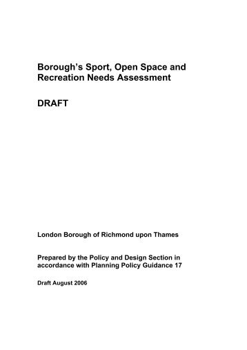 Sport open spaces and recreation needs assessment - London ...