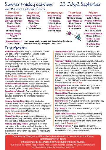 Welcare Summer Programme 2012