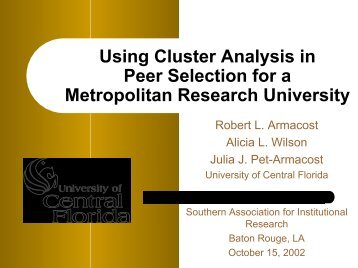 Using Cluster Analysis for Peer Selection - University Analysis and ...