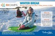 Winter Break programs - Town of Richmond Hill
