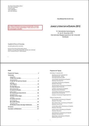 2012 - Hans Werner Richter - Stiftung *Homepage