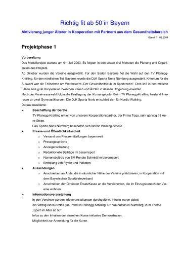 Kurzauswertung Projektphase 1 - Richtig Fit ab 50