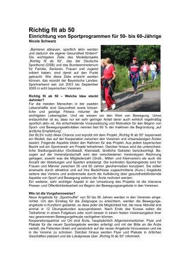 Zwischenbericht März 2005 - Richtig Fit ab 50