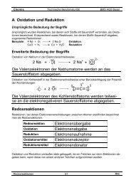 A Oxidation und Reduktion Die Valenzelektronen der ... - Ricki.ch