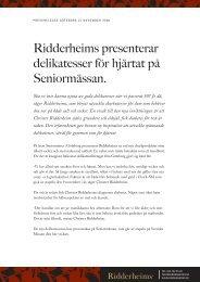 Ridderheims presenterar delikatesser för hjärtat på Seniormässan.