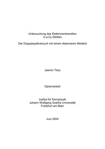 Untersuchung des Elektronentransfers in p-D2-Stößen Der ...