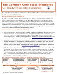 The Common Core State Standards - Rhode Island Department of ...