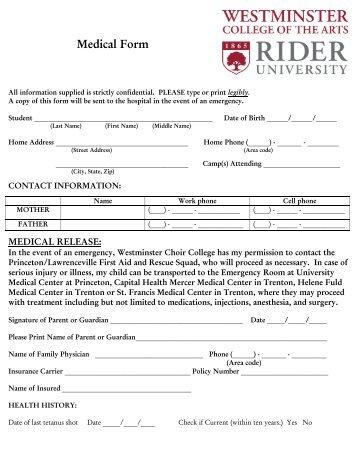 Medical Form - Rider University
