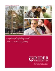 Certificate of Eligibility with Advanced Standing ... - Rider University