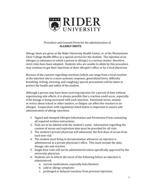 Procedure and Consent Form for the     - Rider University