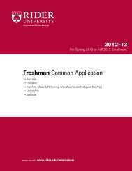 Freshman Common Application 2012-13 - Rider University