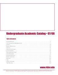 liberal arts and sciences - Rider University