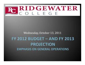 Budget Presentation FY 2012 01.06.12 - Ridgewater College