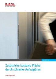 Prospekt für Schiebetüren Liz - Riedl Aufzüge