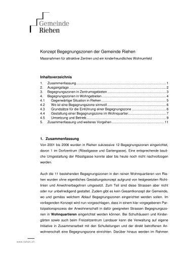 Konzept Begegnungszonen der Gemeinde Riehen