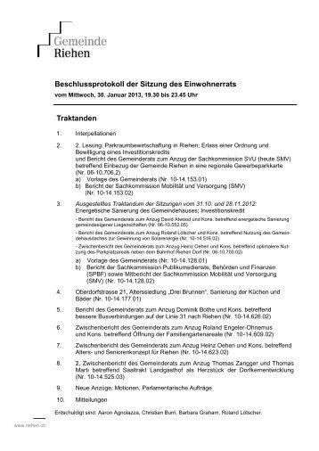 Sitzung vom Mittwoch, 30. Januar 2013 - Riehen