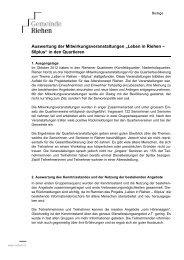 """Auswertung der Mitwirkungsveranstaltungen """"Leben in Riehen ..."""